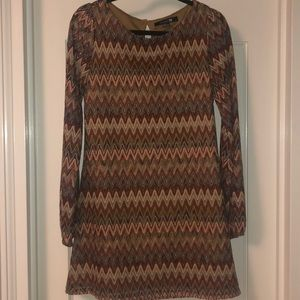 """Missoni"" Long-sleeve Mini Dress"